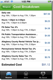 Zipcar cost breakdown